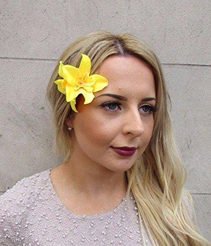 Starcrossed-Boutique-amarillo-doble-orqudea-flor-Clip-de-pelo-rockabilly-aos-50-de-flor-hawaiana-2958