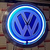 Neonuhr - GROSSES VW ZEICHEN Neon Blau - Werkstatt Wanduhr