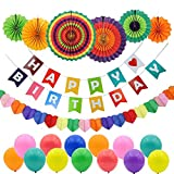 Happy Birthday Party Dekorationen, Happy Geburtstag Banner Girlande, 6 bunt Fiesta Papier Fans, 20 Stück Party Luftballons aus Latex und 1 Herz Form Regenbogen Papier Girlande, Party Supplies für Kinder und Erwachsene