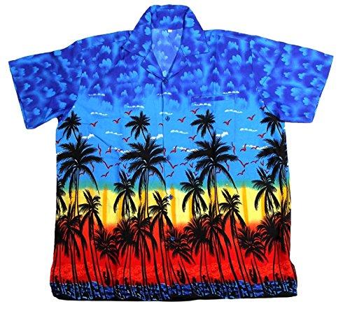 SAITARK Herren Freizeit-Hemd Mehrfarbig Bigarré Mehrfarbig - Multicolore - Bleu
