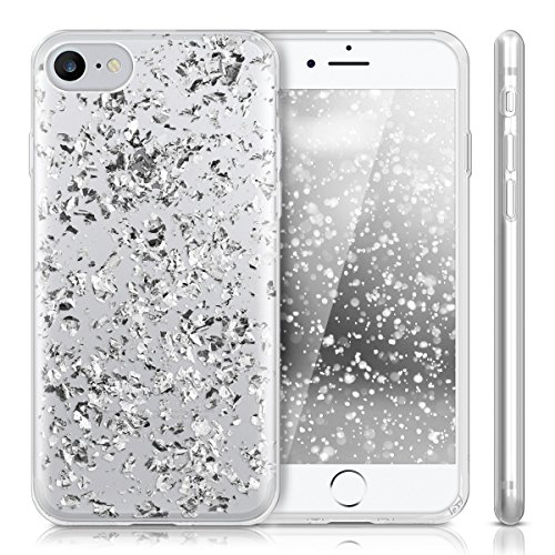 kwmobile Hülle für Apple iPhone 7 / 8 - TPU Silikon Backcover Case Handy Schutzhülle - Cover Metallic Rosegold Flocken Silber Transparent
