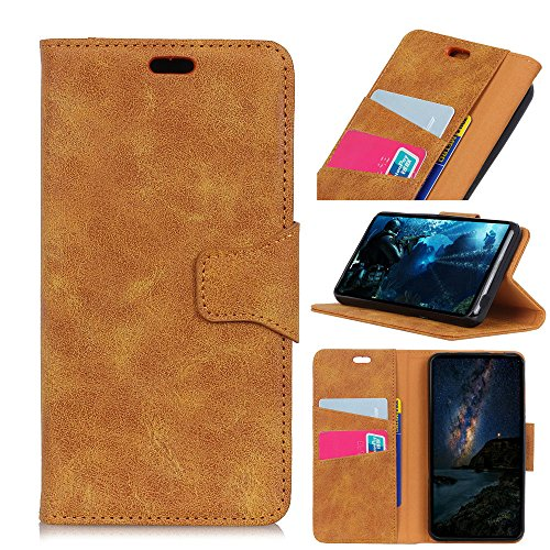 Casefirst , Alcatel 5 Case Wallet Leather, Alcatel 5 Case with Card Holder and Kickstand, Alcatel 5 Wallet Case with Bumper, Bumper Case Cover for Alcatel 5 Yellow