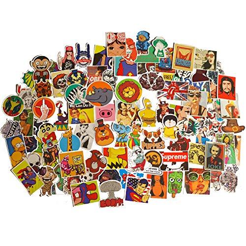 Mezele (100 Stk Aufkleber Vinyl Stickers Graffiti Decals Stickerbomb für Auto, Skateboard, Koffer, Motorräder, Fahrräder, Boote, Laptop, Snowboard Gepäck und Glatte Oberfläche