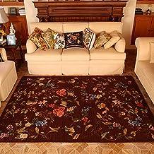 MeMoreCool American estilo campo Europea salón área Rugs ordenador silla/sofá Mats Large Carpet romano marrón alfombra de dormitorio alfombra de noche para Home sala de estar, alfombra rústico, tela, marrón, 160cm by 230cm