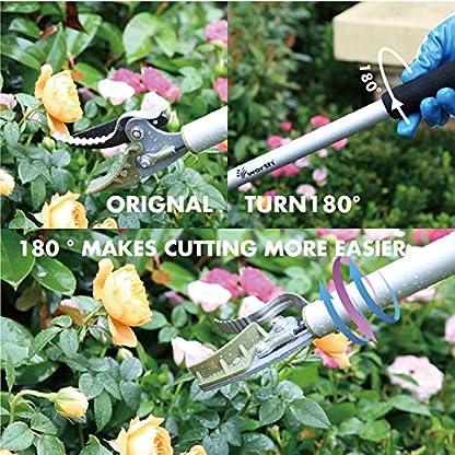 Worth Garden podadera de largo alcance, recortadora de largo brazo, tijeras de podar de fácil alcance, SK5 cuchilla con mango de aluminio.