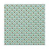 Tissu coton enduit éventails - Bleu lagon - Largeur 160 cm- Longueur au choix par 50cm