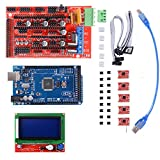 3D Printer Kit mit Mega 2560 Board + RAMPS 1.4 Controller + 5pcs A4988 Schrittmotor-Treiber mit Heatsink + LCD 12864 Grafik-Smart-Display-Controller mit Adapter für 3D-Drucker