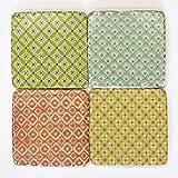 Sass & Belle Set of 4Marokkanische Tile Drink Untersetzer mit schweren Stein Effekt & Kork Rückseite grün gelb orange 10x 10cm, Kunstharz, Grün/Gelb/Orange, 10 x 10 cm