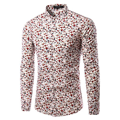Men's Leaf Printed Cotton Slim Fit Long Sleeve Casual Shirts TU217 Red