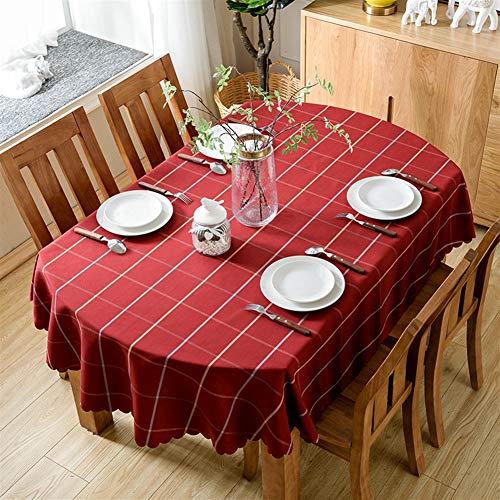Ommda tovaglia ovale plaid lavabili impermeabile tovaglia moderna per tavolo tovagliette salotto profondo rosso 140x200cm