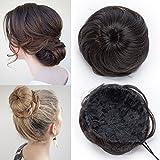 TESS Haarteil Dutt Haargummi mit Haaren Dunkelbraun Glatt Haarknoten Hochsteckfrisuren günstig für Frauen 45g