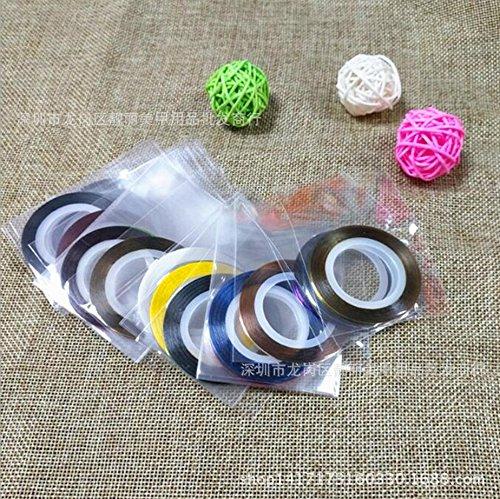 Outflower 32Pcs Nail Art Striping Tape Autocollants pour Ongles Or et Argent Couleur Ligne de Couleur Décoration D'ongles