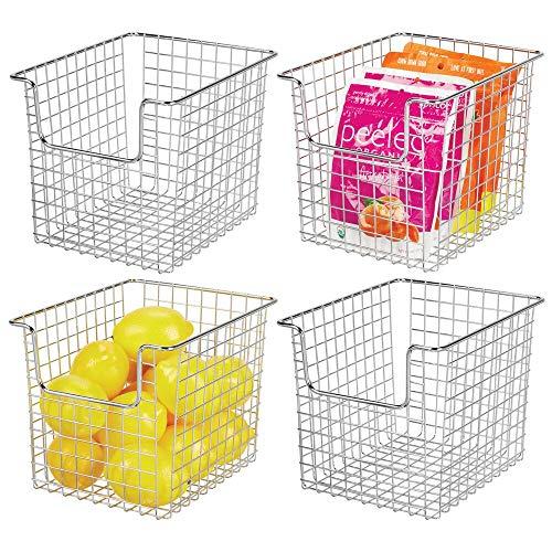 mDesign 4er-Set Allzweckkorb aus Metalldraht - Flexibler Aufbewahrungskorb für die Küche, Vorratskammer etc. - universeller Drahtkorb - silberfarben -