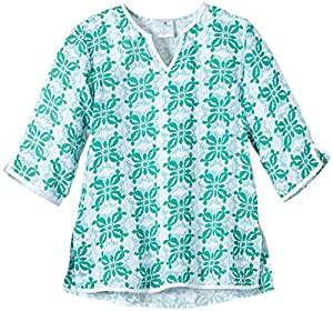 Snapper Rock Girl Kaftan After Sun Summer Top Beach & Pool Cover Up For Kids & Teens Green/White 7-8 years, 128-134cm
