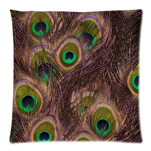 Home Decor Personalized Beautiful Peacock Bird Tail Feathers Zippered Throw Pillow Cover Cushion Case 18x18 (one side) -
