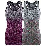 Bongual Damen Funktiontop Slim Fit Running-Tanktop Sporttop mit Ringerrücken für Yoga, Fitness, Laufen (34-36), Multicolor+Magenta