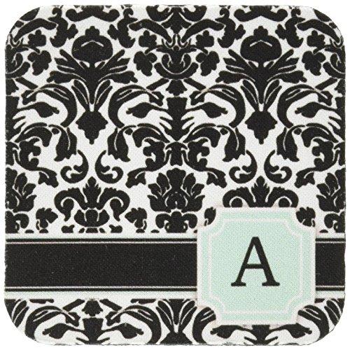 Und Tischsets Damast Weiß Schwarz (CST _ 154350inspirationzstore Monogramme–Brief eine persönliche Monogramm mint blau schwarz und weiß Damast Muster–Classy Personalisierte Initiale–Untersetzer, Gummi, grün, set-of-4-Soft)