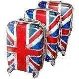"""Juego de 3 Maletas, modelo: """" Londres """". Con 4 ruedas. Medidas maleta grande: 75x50x30cms.. Medidas maleta mediana: 65x43x26cms.. Medidas maleta pequeña: 55x37x23cms.. Fabricadas en ABS."""