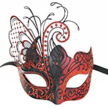 CCUFO [Flying Butterfly] Red/Black Face [Sparkling Wing] Laser Cut Metal Venetian Women Mask Masquerade / Party / Ball Prom / Mardi Gras / Wedding / Wall Decoration …