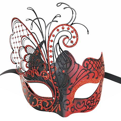 Schwarze Kunststoff Maske - CCUFO [Flying Butterfly] rot / schwarz