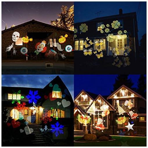 Proiettore Luci Natale Giardino.Fourchen Proiettore Luci Natale Led 6w 18 Diapositive Proiezione
