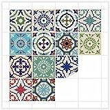 FoLIESEN Fliesenaufkleber für Bad und Küche - 20x20 cm - Patchwork 3 - 16 Fliesensticker für Wandfliesen