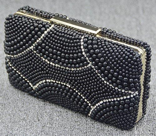 Perla Cena Dress Diamante banchetto pacchetto del sacchetto della sposa della borsa del-143 nero