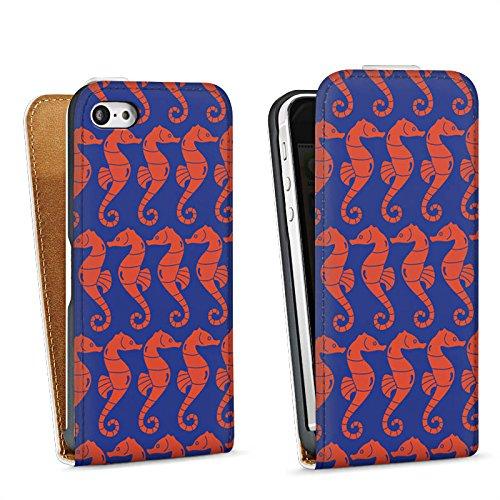 Apple iPhone 5s Housse Étui Protection Coque Hippocampe Été Vacances Sac Downflip blanc
