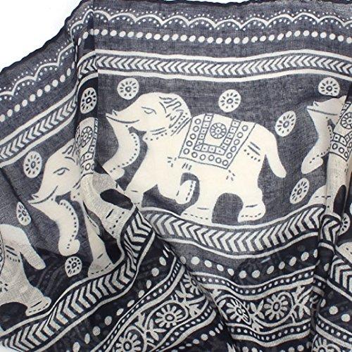 Transer ® Femelle Écharpes,Mode Femmes Unique Design Cou Stole Elephant Imprimer Voile longue écharpe Châle Wrap Pashmina Bleu