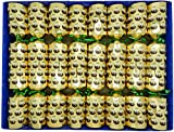 8 Christmas Pudding Christmas Crackers in Gold with Magic Tricks by Crackers Ltd (Cat F1)