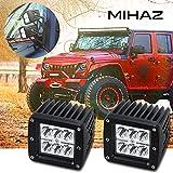 2X MIHAZ Led Faro de Trabajo Luz Faro Coche Moto luces antiniebla Blanca Lámpara Luces Diurna, Barra Ligera de la Viga del Punto de 1260lm Brillante Estupenda Para el Vehículo Carro SUV Barco Cabina Jeep 4WD ATV UTV