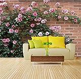 Wemall 3D maßgeschneiderte Tapete Rosen an der Wand mit grünen Blättern 3D TV-Kulisse, 200x140 cm (78,7 x 55,1 Zoll)