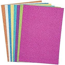 Baker Ross Cartulina A4 Colorida con Purpurina (Paquete de 16) para Arte y Manualidades de Adultos y niños