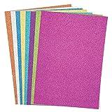 Baker Ross Cartoncini Glitterati in 8 Colori Natalizi: Articoli artistici Natalizi per attività Fai da Te per Grandi e Piccini (Confezione da 16)