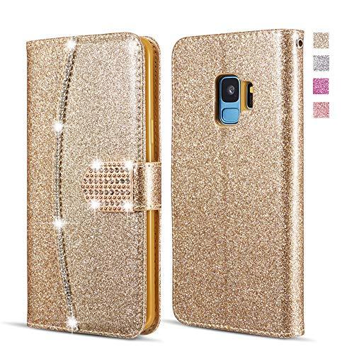 UEEBAI Brieftasche Hülle für Samsung Galaxy A5 2017,Premium Glitzer PU Leder Handyhülle mit Diamant Schnalle [Kartenslots] [Magnetverschluss] Ständer Funktion Strass Weich TPU Schutzhülle - Gold -