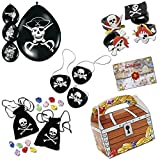 Piratenparty Mitgebsel Set D mit 120 Teilen Schatzkiste Schatzbeutel Augenklappen Luftballons Palandi®
