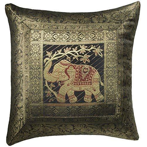 Comercio justo Indian brocado trabajo elefante algodón cojín cover 100% algodón, negro, 45 x 45cm