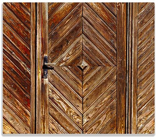 Wallario Herdabdeckplatte/Spritzschutz aus Glas, 1-teilig, 60x52cm, für Ceran- und Induktionsherde, Alte Holztür mit diagonalem Muster -