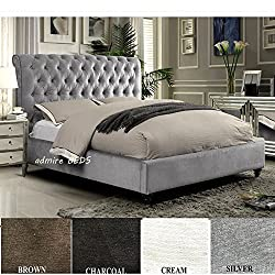 Admire BEDS Rome New Luxury Quality Upholstered Chesterfield Design Sleigh Bed Frame in stunning Silver Naples Suede (British Velvet) Fabric 5 Ft (King Size)