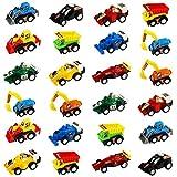 Spielzeugautos Mini Lkw Bagger Bulldozer Rennwagen Fahrzeuge Modell Spielzeug für Kinder, 24 Pcs