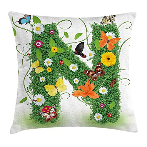 Letter N Throw Pillow Cushion Cover, Chamomile Daisy Gerbera Blooms and Green Leaves Colorful Butterflies Nature, Decorative Square Accent Pillow Case, 18 X 18 Inches, Green Multicolor
