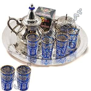 Set de thé arabe complet - thé vert de thé - plateau - bateaux - sucre-