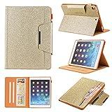 Uliking iPad 9.7 Hülle 2018 iPad 6/2017 iPad 5 Generation Tasche Hülle, PU Leder Funkeln Cover mit Auto Schlaf/Wach Ständer Schutzhülle für Apple iPad 9.7 inch 2018 2017/Air/Air 2/Pro 9.7, Gold