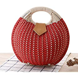GAOQQ Mode Shell Handtasche Persönlichkeit Nette Rattan Tasche Stricken Handtasche Freizeittasche,Red