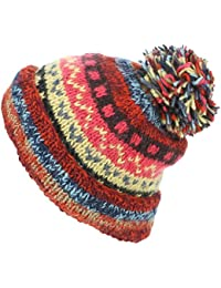 a160c292e703 LOUDelephant Chunky Wool Knit Abstract Pattern Beanie Bobble Hat