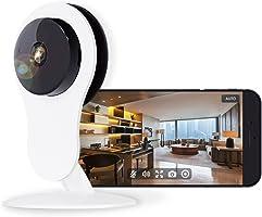NETVUE Telecamera di Sicurezza IP WiFi HD 720p con Allarme di Rilevazione di Movimento, Zoom Digitale 4x, Visione Notturna e Audio Bidirezionale, P2P Bianco (Adattatore Euro)