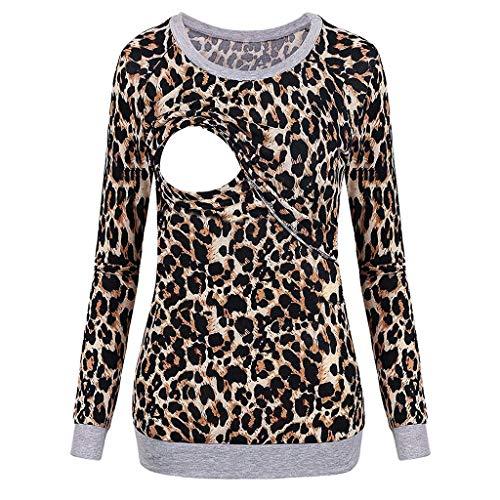 ALISIAM Mujeres Embarazadas Maternidad Enfermería Lactancia Materna Tops Manga Larga Cuello Redondo Camiseta Estampado Leopardo Blusa Otoño Invierno Jersey cálido