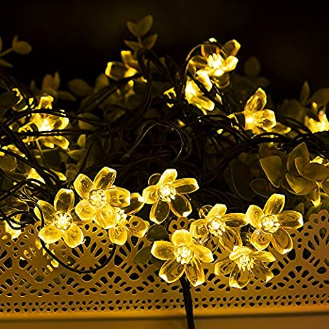 Verkb-Filo di luci da esterni a energia solare, impermeabili, Fiore, Fioritura, 6,40 Meters-50 luci a Led natalizie, per uso interno, giardini, feste, vacanze, decorazioni da esterni, luce calda, colore: bianco