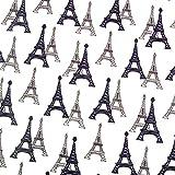 0,5m Patchwork-Stoff Paris Eifelturm weiß