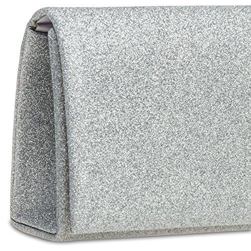 CASPAR TA343 elegante Damen Glitzer Clutch Abendtasche Silber